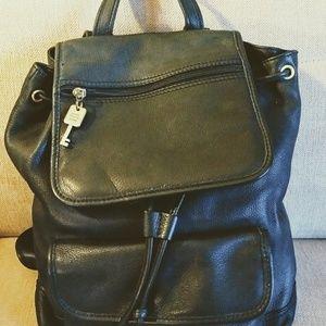 Fossil Vintage Black Pebble Leather Backpack